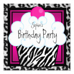 Hot Pink Zebra Girls Cupcake Birthday Party 5.25x5.25 Square Paper Invitation Card