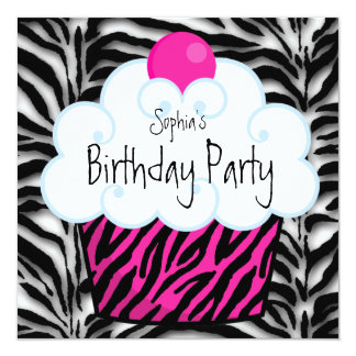 Hot Pink Zebra Girls Cupcake Birthday Party Invitation