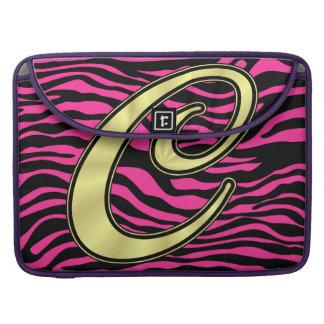 HOT PINK ZEBRA GOLD C SLEEVE FOR MacBooks