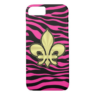 HOT PINK ZEBRA GOLD FLEUR DE LIS iPhone 8/7 CASE