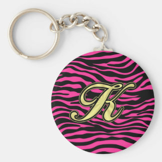 HOT PINK ZEBRA GOLD K BASIC ROUND BUTTON KEYCHAIN