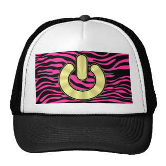 HOT PINK ZEBRA GOLD POWER TRUCKER HAT
