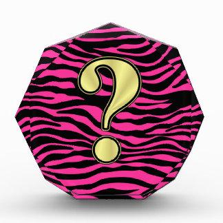 HOT PINK ZEBRA GOLD QUESTION MARK AWARD