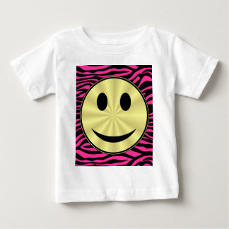 HOT PINK ZEBRA GOLD SMILEY BABY T-Shirt
