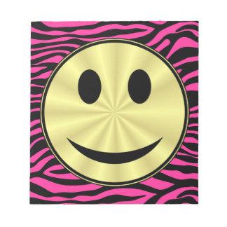 HOT PINK ZEBRA GOLD SMILEY NOTEPADS