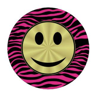 HOT PINK ZEBRA GOLD SMILEY POKER CHIP SET