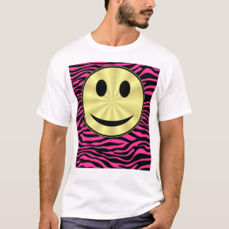 HOT PINK ZEBRA GOLD SMILEY T-Shirt