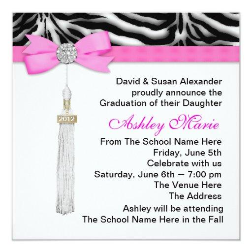 Hot Pink Zebra Graduation Announcements