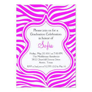 Hot Pink Zebra Graduation Invitation Custom Color