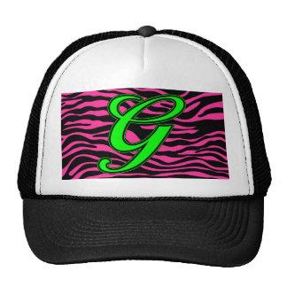 HOT PINK ZEBRA GREEN G MESH HAT