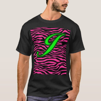 HOT PINK ZEBRA GREEN J T-Shirt