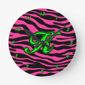 HOT PINK ZEBRA GREEN K ROUND CLOCK
