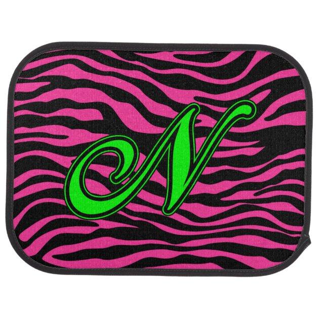 Hot Pink Zebra Green N Car Mat Zazzle