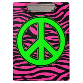 HOT PINK ZEBRA GREEN PEACE CLIPBOARD