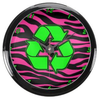 HOT PINK ZEBRA GREEN RECYCLE AQUA CLOCK