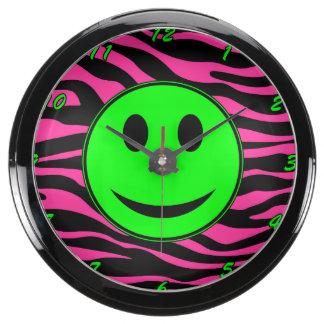 HOT PINK ZEBRA GREEN SMILEY AQUA CLOCK