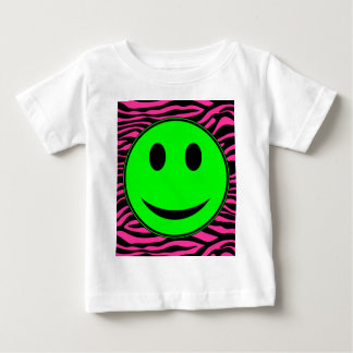 HOT PINK ZEBRA GREEN SMILEY BABY T-Shirt