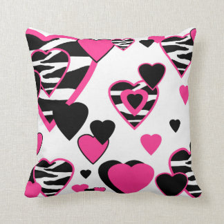 Hot Pink Zebra Heart Throw Pillow