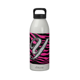 HOT PINK ZEBRA jpg Drinking Bottle