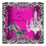 Hot Pink Zebra Leopard Print Party Shoes 5.25x5.25 Square Paper Invitation Card