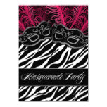 Hot Pink Zebra Masquerade Ball Party Invitations