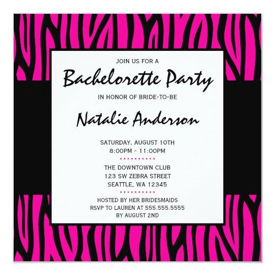 Hot Pink Zebra Modern Bachelorette Party Card
