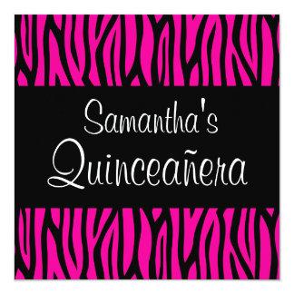Hot Pink Zebra Modern Quinceanera Invitations