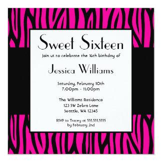 Hot Pink Zebra Modern Sweet 16 Birthday Party Card
