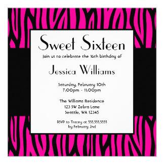 Hot Pink Zebra Modern Sweet 16 Birthday Party Custom Invitations