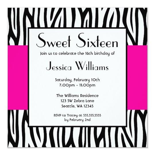 Hot Pink Zebra Modern Sweet 16 Card