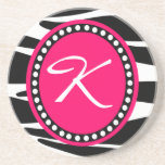 Hot Pink Zebra Monogrammed Initial (Sample) Drink Coaster