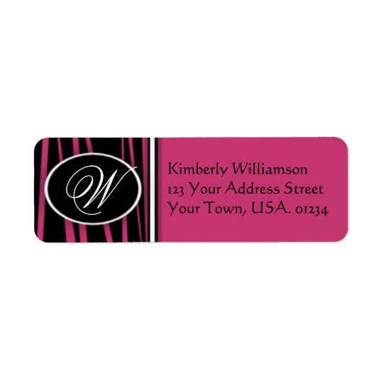Hot Pink Zebra Monogrammed Return Address Labels