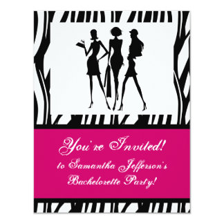 Hot Pink Zebra Party Invitation