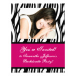 Hot Pink Zebra Party Invitation