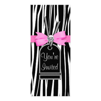 Hot Pink Zebra Party Invitation Template