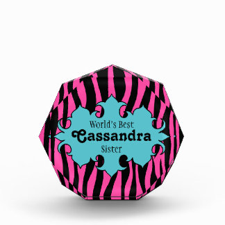 Hot pink zebra pattern World's best sister award