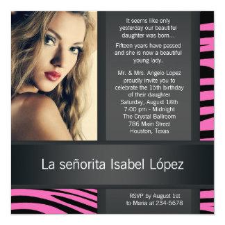 Hot Pink Zebra Photo Quinceanera Invitations