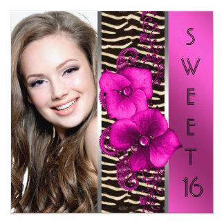 Hot Pink Zebra Photo Sweet 16 Birthday Party Card
