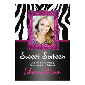 Hot Pink Zebra - Photo - Sweet 16 Invitation