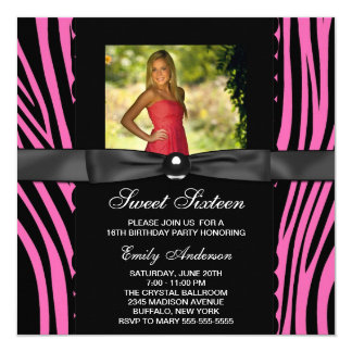Hot Pink Zebra Photo Sweet 16 Party Card