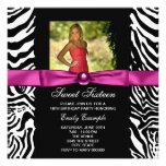 Hot Pink Zebra Photo Sweet 16 Party Personalized Announcement