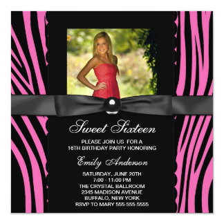Hot Pink Zebra Photo Sweet 16 Party Invitations