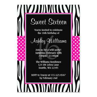 Hot Pink Zebra Polka Dot Sweet 16 Invitations