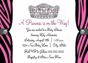 Hot pink baby shower invitations zazzle hot pink zebra princess pink black baby shower invitation filmwisefo