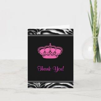 Hot Pink Zebra Princess Thank You Cards card