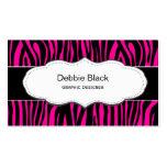 Hot Pink Zebra print business cards