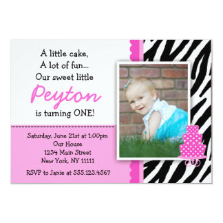 Hot Pink Zebra Print First Birthday Invitations