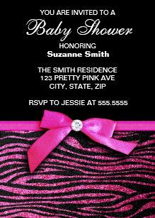 Zebra print baby shower invitations zazzle hot pink zebra print girl baby shower invitations filmwisefo