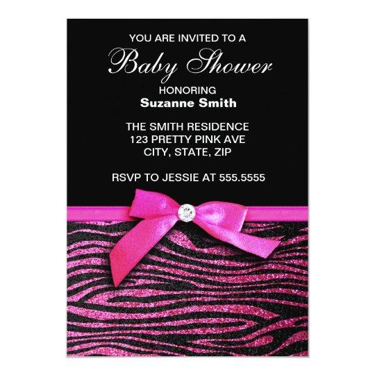 Hot pink zebra print girl baby shower invitations zazzle hot pink zebra print girl baby shower invitations filmwisefo