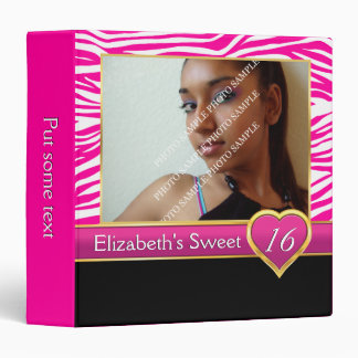 Hot pink zebra print glam Sweet Sixteen birthday 3 Ring Binder